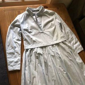 Zara Pale Blue Maxi Shirt Dress